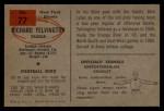 1954 Bowman #77  Richard Yelvington  Back Thumbnail