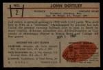 1953 Bowman #2  John Dottley  Back Thumbnail