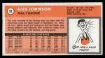 1970 Topps #92  Gus Johnson   Back Thumbnail