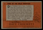 1956 Topps Davy Crockett Orange Back #1   King of the Wild Frontier     Back Thumbnail