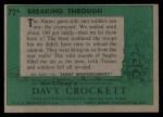 1956 Topps Davy Crockett Green Back #72   Breaking Through  Back Thumbnail