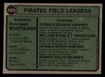 1974 Topps #489   -  Danny Murtaugh / Don Leppert / Bill Mazeroski / Don Osborn / Bob Skinner Pirates Leaders   Back Thumbnail
