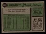 1974 Topps #493  Joe Hoerner  Back Thumbnail