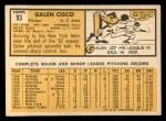 1963 Topps #93  Galen Cisco  Back Thumbnail