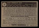 1952 Topps #49 COR Johnny Sain  Back Thumbnail