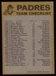 1974 Topps Red Team Checklist   Padres Team Checklist Back Thumbnail
