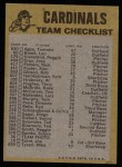 1974 Topps Red Team Checklist   -     Cardinals Team Checklist Back Thumbnail