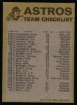 1974 Topps Red Team Checklist   Astros Team Checklist Back Thumbnail