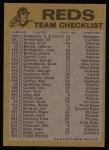 1974 Topps Red Team Checklist   Reds Team Checklist Back Thumbnail
