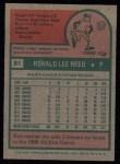 1975 Topps #81  Ron Reed  Back Thumbnail