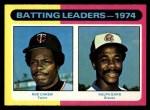 1975 Topps #306   -  Rod Carew / Ralph Garr Batting Leaders Front Thumbnail