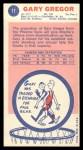 1969 Topps #11  Gary Gregor  Back Thumbnail