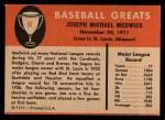 1961 Fleer #61  Ducky Medwick  Back Thumbnail