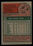 1975 Topps #532  Gorman Thomas  Back Thumbnail