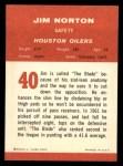 1963 Fleer #40  Jim Norton  Back Thumbnail