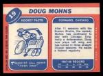 1968 Topps #19  Doug Mohns  Back Thumbnail