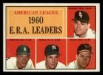 1961 Topps #46   -  Jim Bunning / Frank Baumann / Hal Brown / Art Ditmar AL ERA Leaders Front Thumbnail