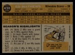 1960 Topps #420  Eddie Mathews  Back Thumbnail