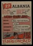 1956 Topps Flags of the World #27   Albania Back Thumbnail