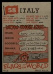 1956 Topps Flags of the World #58   Italy Back Thumbnail