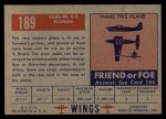 1952 Topps Wings #189   Saab-90 A-2 Scandia Back Thumbnail