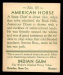 1933 Goudey Indian Gum #43  American Horse   Back Thumbnail