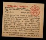 1950 Bowman #109  Wallace Triplett  Back Thumbnail