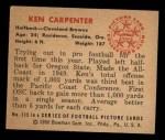 1950 Bowman #115  Ken Carpenter  Back Thumbnail