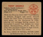1950 Bowman #79  Tony Adamle  Back Thumbnail