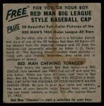 1954 Red Man #22 AL x Ferris Fain  Back Thumbnail