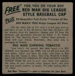 1954 Red Man #24 AL x Jim Delsing  Back Thumbnail