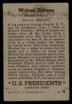 1952 Bowman U.S. Presidents #16  Millard Fillmore  Back Thumbnail