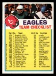 1973 Topps  Checklist   Eagles Front Thumbnail