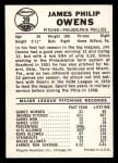 1960 Leaf #39  Jim Owens  Back Thumbnail