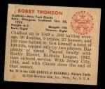1950 Bowman #28  Bobby Thomson  Back Thumbnail