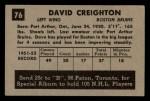 1952 Parkhurst #76  Dave Creighton  Back Thumbnail