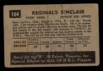 1952 Parkhurst #104  Reg Sinclair  Back Thumbnail