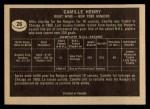 1967 Topps #26  Camille Henry  Back Thumbnail
