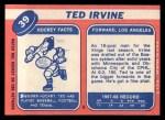 1968 Topps #39  Ted Irvine  Back Thumbnail