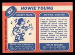 1968 Topps #82  Howie Young  Back Thumbnail