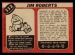 1968 O-Pee-Chee #113  Jim Roberts  Back Thumbnail