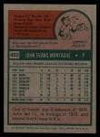 1975 Topps #405  John Montague  Back Thumbnail