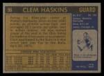 1971 Topps #96  Clem Haskins   Back Thumbnail
