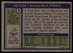 1972 Topps #9  Jim Kiick  Back Thumbnail