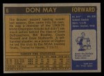 1971 Topps #6  Don May   Back Thumbnail