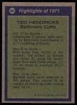 1972 Topps #281   -  Ted Hendricks All-Pro Back Thumbnail