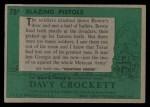 1956 Topps Davy Crockett Green Back #78   Blazing Pistols  Back Thumbnail