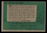 1956 Topps Davy Crockett Green Back #12   Go Get 'Em Davy!  Back Thumbnail