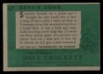1956 Topps Davy Crockett Green Back #63   Davy's Song  Back Thumbnail