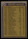 1979 Topps #169   Raiders Leaders Checklist Back Thumbnail